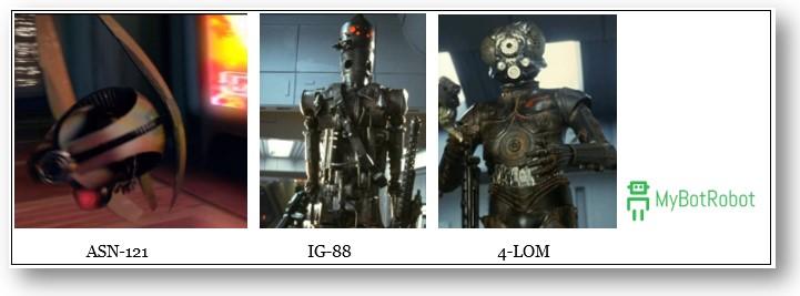 Nombres de los Robots de Star Wars, droides ASN121, IG88, 4LOM