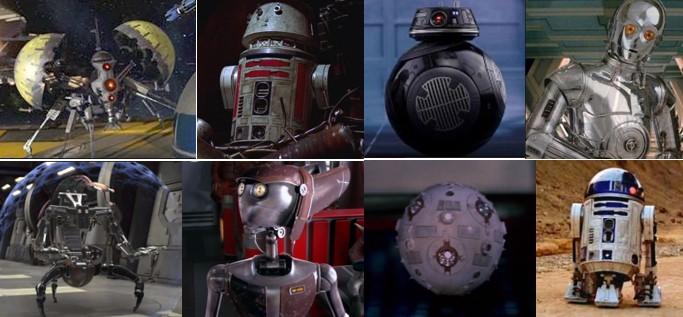 Rbots Star Wars Nombres,mosaico de varios droides para ilustrar diccionario droide