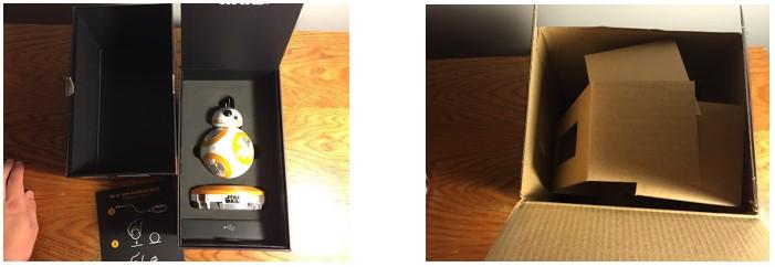 El packaging del BB-8 de Sphero es lujoso mientras que el del BB-8 de Hasbro es normal, de carton