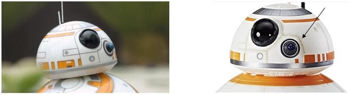 Detalle de las dos cabezas de cada droide y del realismo del modelo de Hasbro