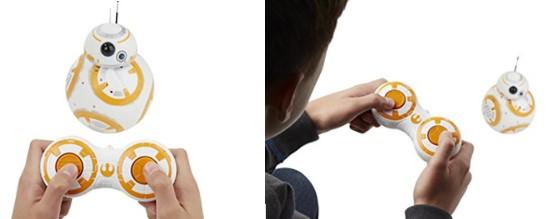 Niño utilizando el mando a distancia del BB-8 de Hasbro