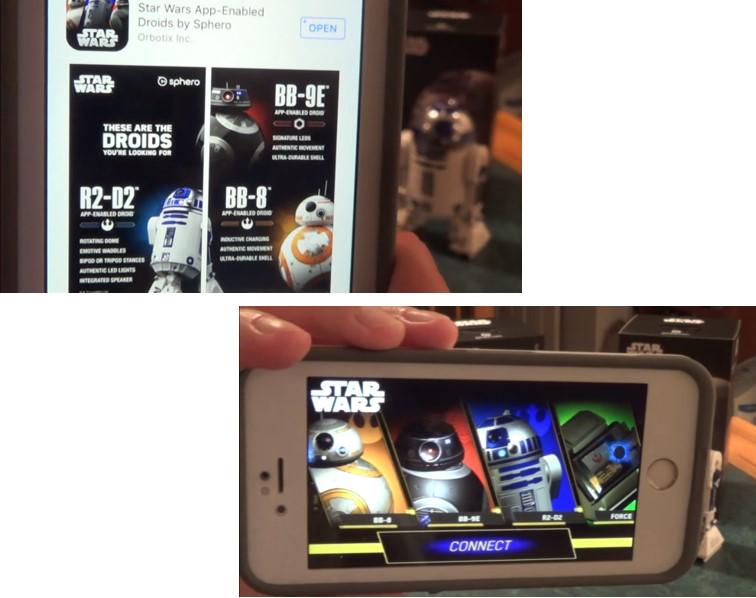 2º paso con la app Sphero Star Wars, conectar el droide