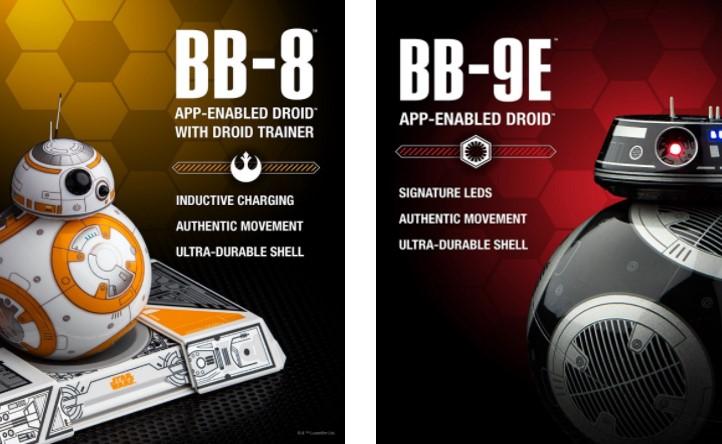 BB-8 Sphero y BB-9E Sphero en sus poster promocionales con características