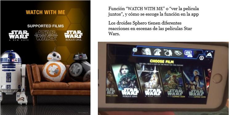 Función Watch with Me o Veamos la película juntos de los droides Star Wars Sphero, cartel y en la app