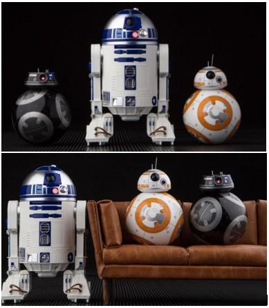 R2-D2, BB-8 y BB-9E de Sphero juntos y sentados en un sofá