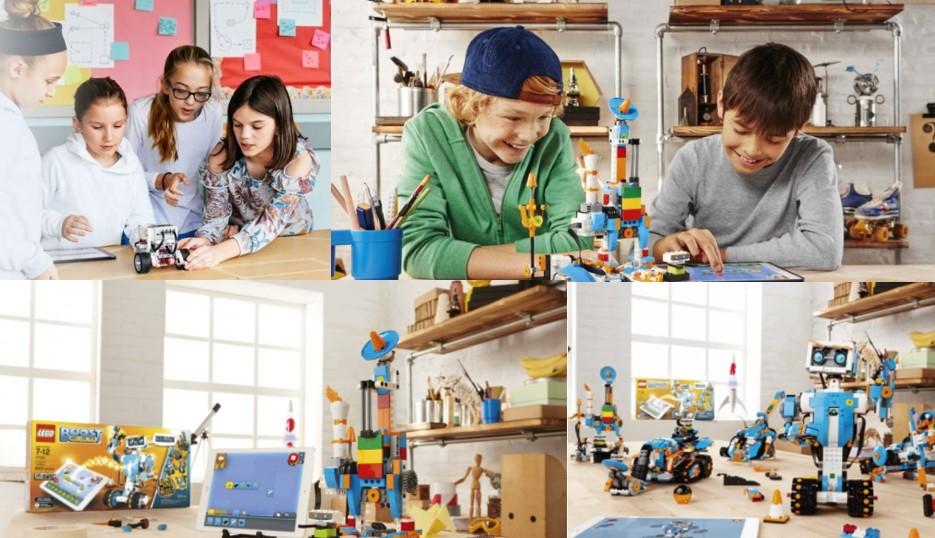 Niñas jugando con Lego Mindstorms y niños jugando con Lego Boost