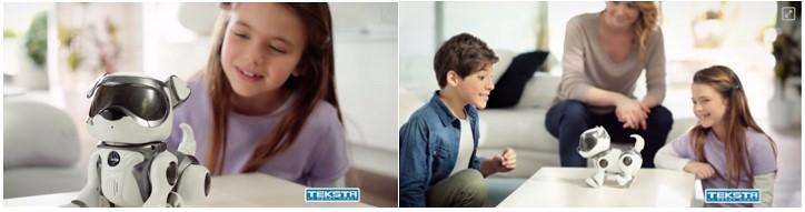 Niña y niño con Teksta, perro robot para niños