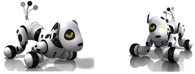 2 posturas del perro robot para niños Zoomer