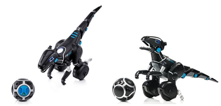 Miposaur robot dinisaurio en dos posturas con su pelota