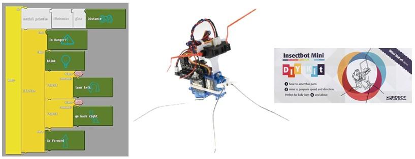 Ejemplo de la programación por bloques del robot DF Insectbot kit, con placa de Arduino
