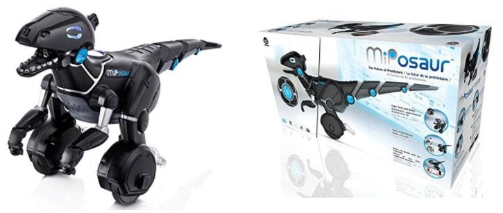 El robot dinosaurio Miposaur de frente junto a su packaging