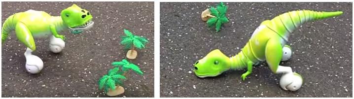 Dos posturas del dinosaurio robot Dino de Zoomer