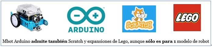 MBot Arduino admite también Scratch y expansiones de Lego, pero solo 1 robot