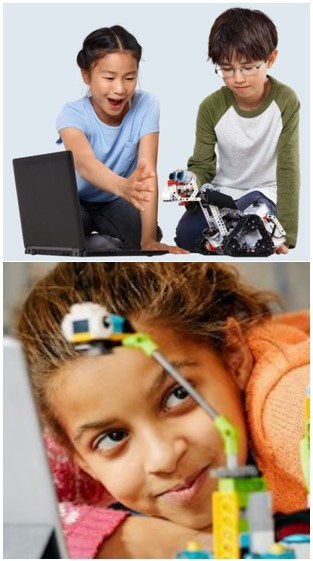 Niños rodeados de Lego Robótica