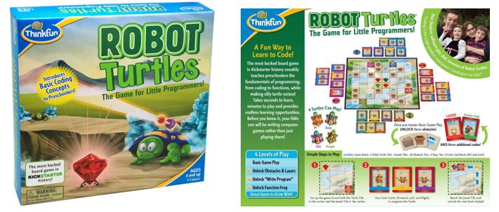 Juegos de robots de tablero para niños Robot Turtles anverso y reverso del juego