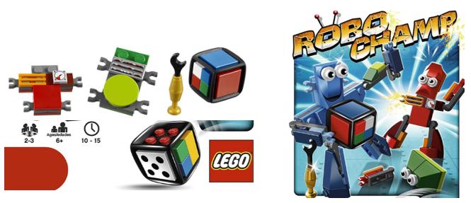 Piezas y detalles de otro de los juegos de robots de tablero para niños: Robo Champ de Lego