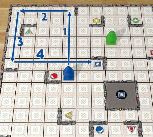Camino para que el robot azul llegue a su objetivo en Ricochet Robots