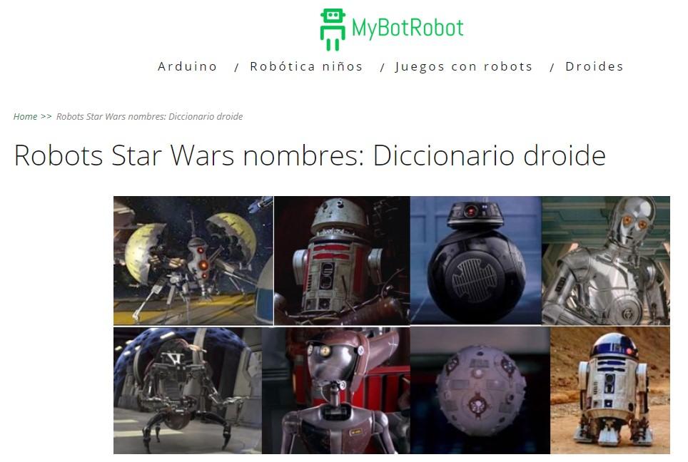 MyBotRobot Robots Star Wars nombres Diccionario Droide