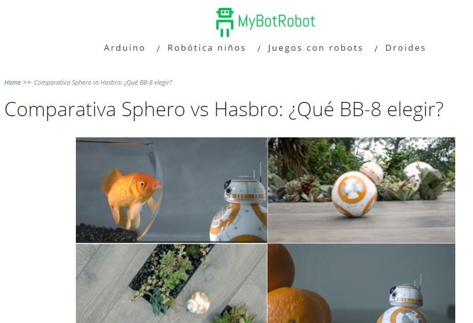 MyBotRobot Comparativa Sphero vs Hasbro para saber que BB8 elegir