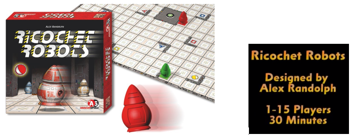 Caja, Tablero y Robot rojo del Ricochet Robots