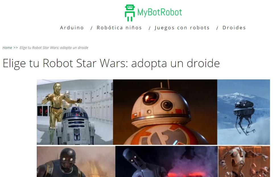 MyBotRobot Elige tu robot Star Wars Adopta un droide