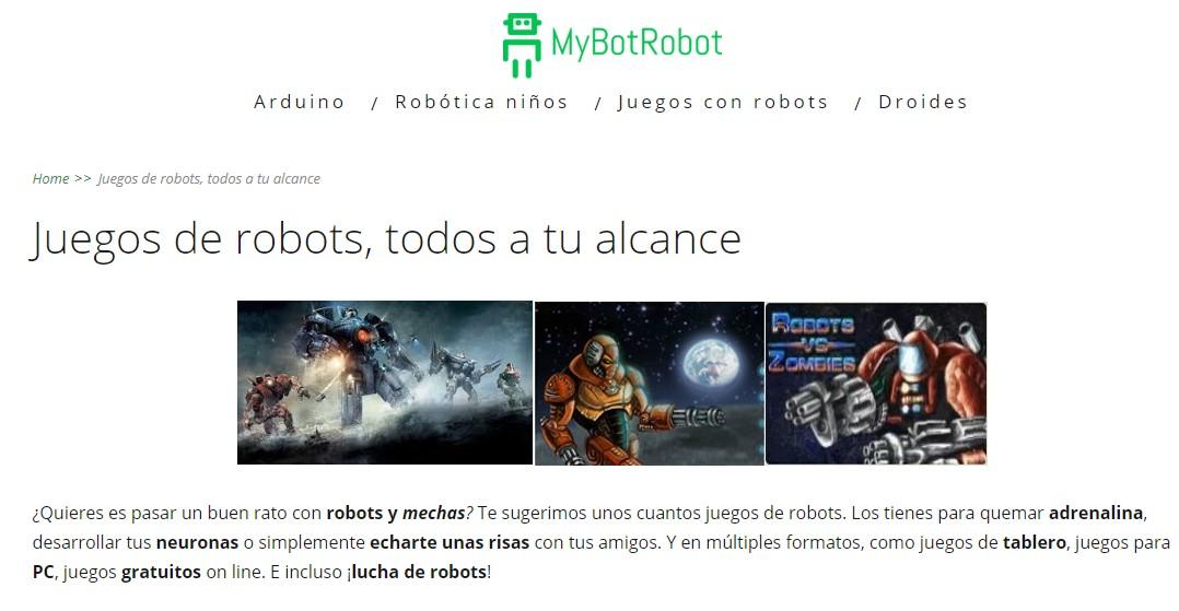 MyBotRobot Juegos de robots todos a tu alcance