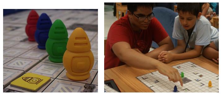 Jugadores de juegos de robots de tablero con Ricochet Robots