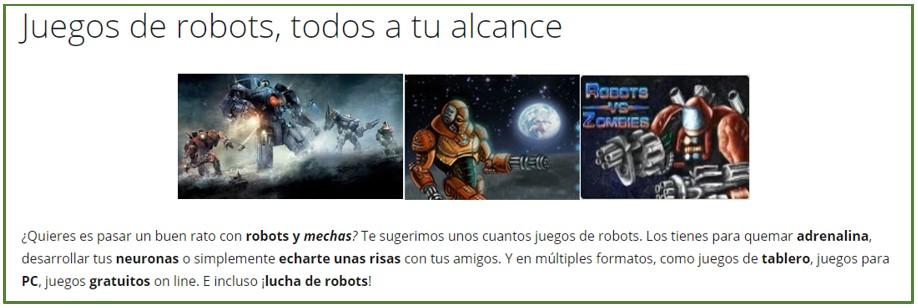 Imagen de la categoría de esta web sobre juegos con todo tipo de robots