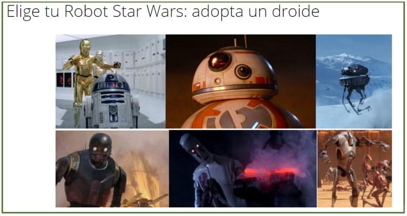 Imagen de la categoria de esta web sobre Robots de Star Wars
