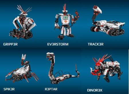 Imagen de los robots de Lego Mindstorms, muestra de la subcategoria sobre la robótica que Lego tiene para niños de MyBotRobot
