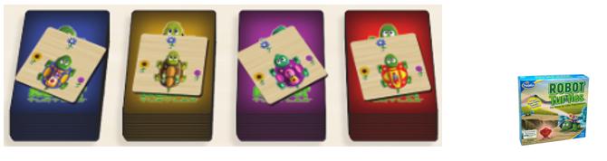 Cartas tortuga de cada personaje jugador en el Robot Turtles español
