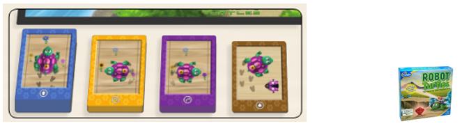 Mazos de cartas de movimiento de cada jugador en el Robot Turtles español