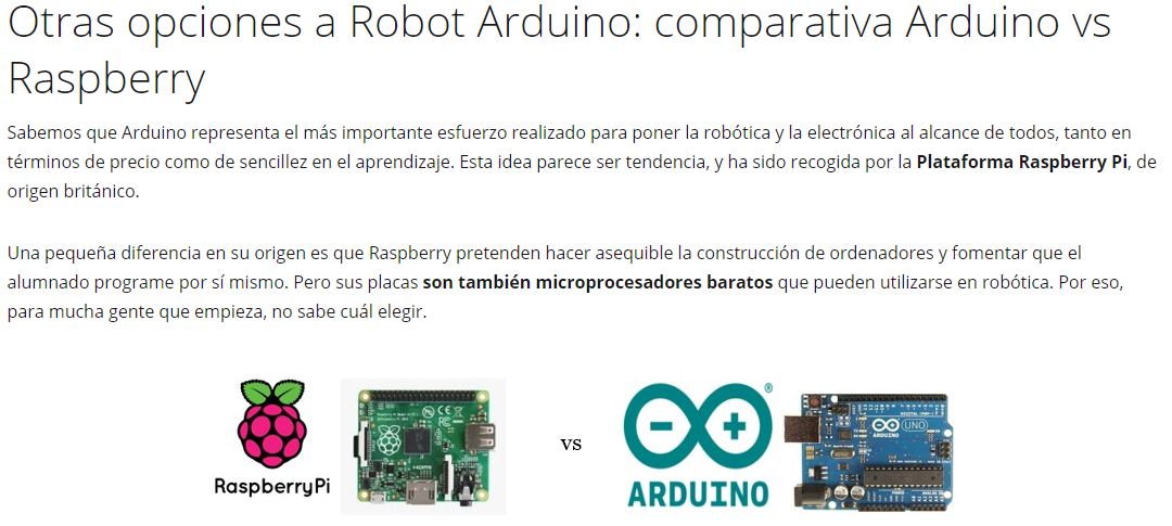 Comparativa Arduino vs Raspeberry