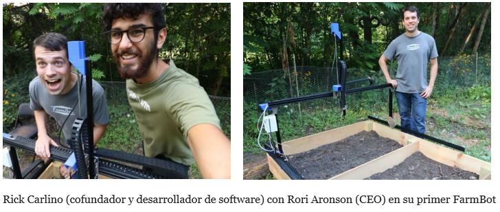 Cofundadores de Farm Bot, Rick Carlino y Rori Aronson, en su primer FarmBot kit en Chicago