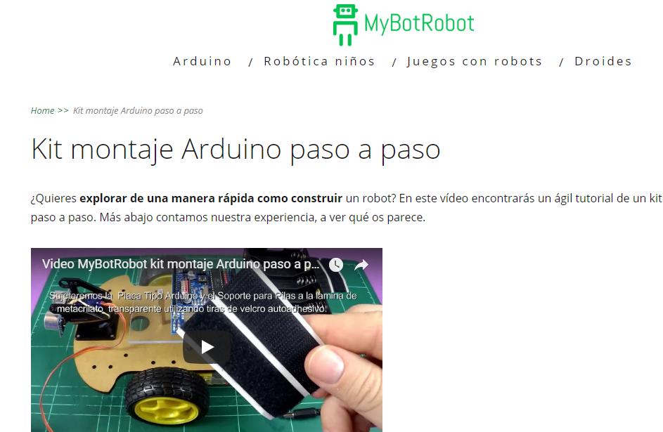 Página MyBotRobot Kit montaje Arduino paso a paso