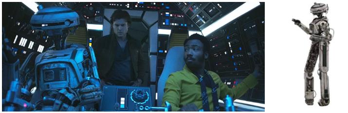 L3-37 pilotando el Halcón Milenario con Lando Calrrisian en presencia de un joven Han Solo