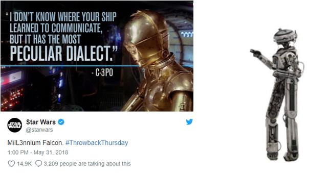 Tweet oficial de Star Wars sobre C3PO, L3-37 y el Halcón Milenario