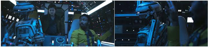 L3-37 y Lando Calrrisian en el Halcón Milenario