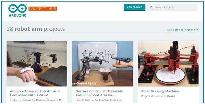 Proyectos de brazo robótico Arduino que puedes encontrar en su página oficial