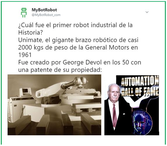 Tweet de @MyBotRobot_com sobre Unimate el primer brazo robótico industrial
