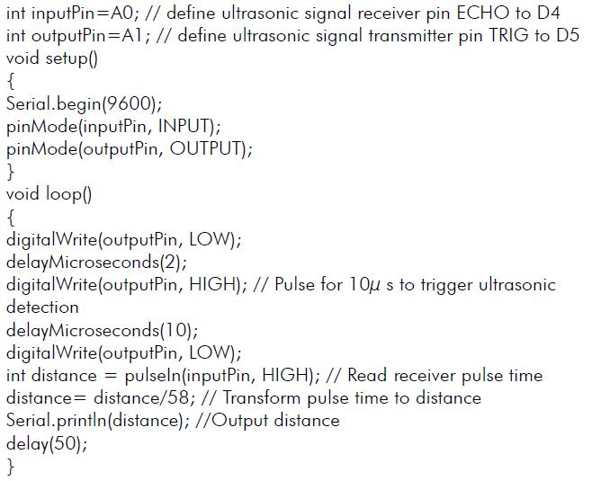 Ejemplo programa Arduino para el sensor de ultrasonidos