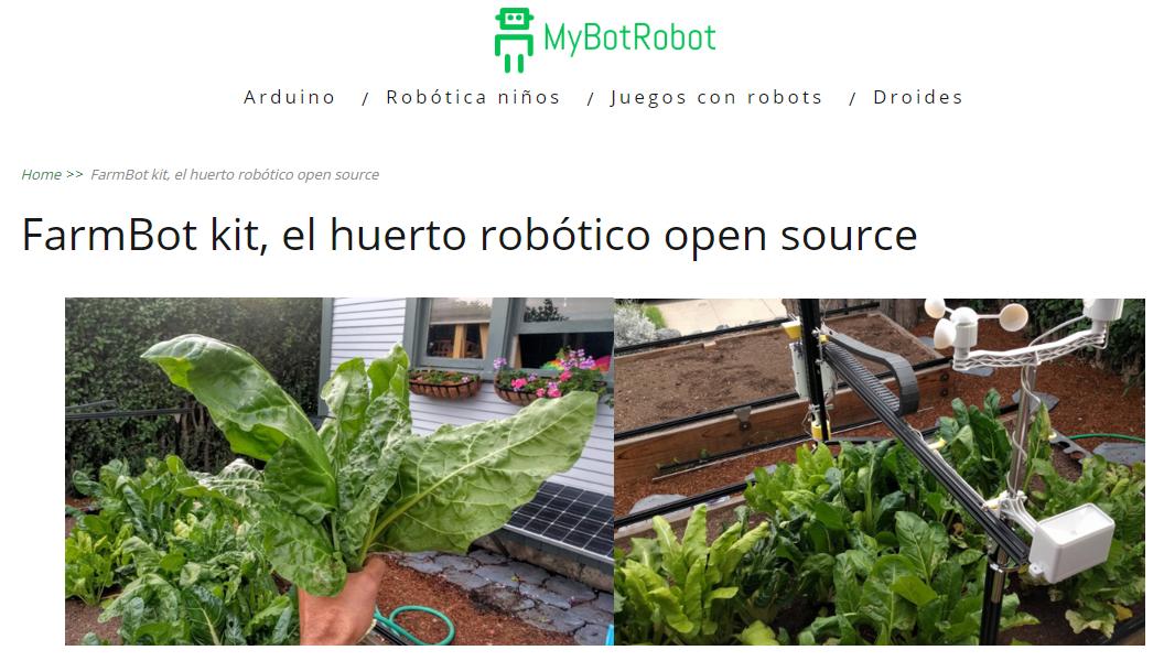 Post de MyBotRobot FarmBot kit el huerto robótico open source