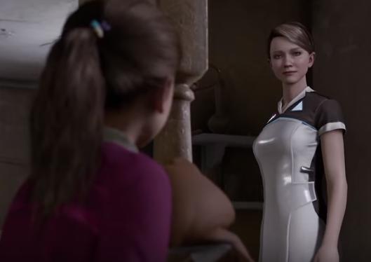 Kara y la niña a la que cuida en Detroit become human