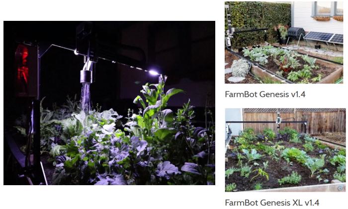 La versión 1.4 del FarmBot Genesis tiene luces LED