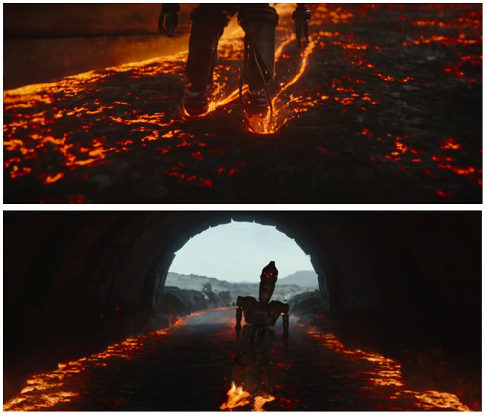 IG-11 caminando por el río de lava en el episodio 8 de The Mandalorian