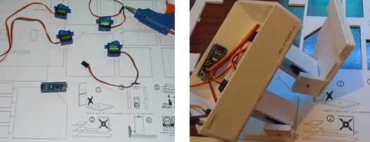 piezas del bipebot, ejemplo de actividades de robótica en casa