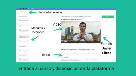 Plataforma del curso y video de presentación de Javier Elices