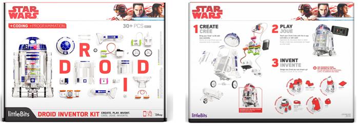 anverso y reverso del kit de inventores de droides star wars de little bits